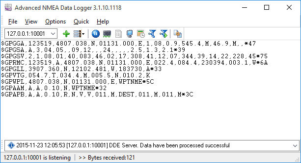 Click to view Advanced NMEA Data Logger 2.9.9.1202 screenshot