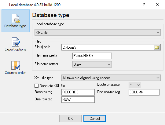 Configure data output to an XML file