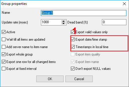 CSV file. OPC group settings. Timestamp.
