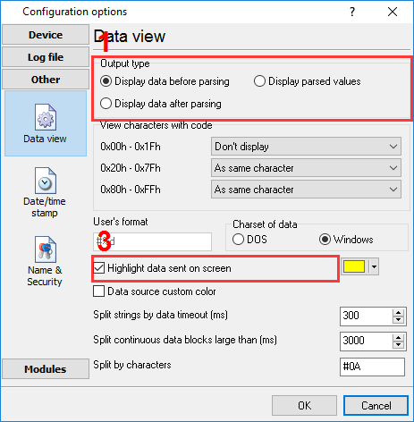 Data display settings