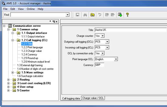 Aastra 470 (PC5 format)  PBX Data Logger  SMDR/CDR data