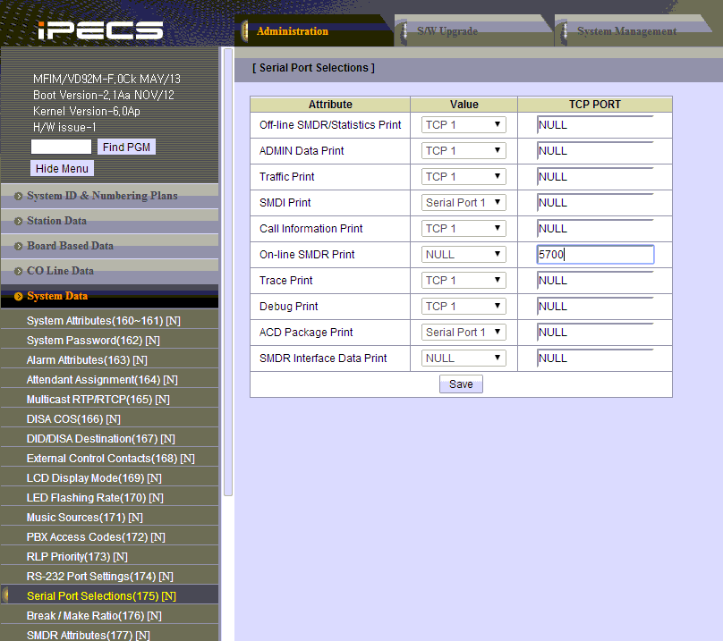 Lg Ericsson Ipecs Mfim50a  Pbx Data Logger  Smdr  Cdr Data