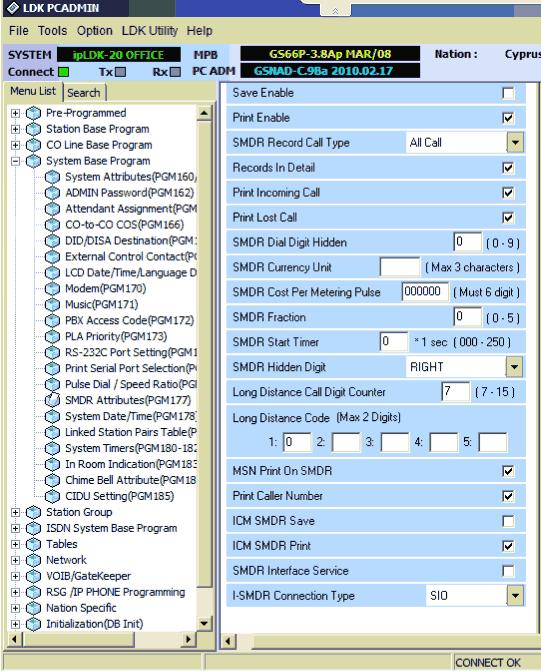 LG LDK-100  PBX Data Logger  SMDR/CDR data format and connection