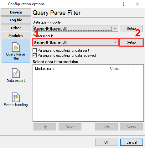 Selecting the parser plugin