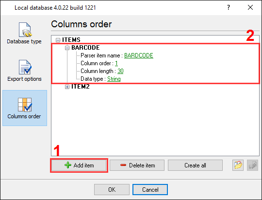 CSV export. Column order options