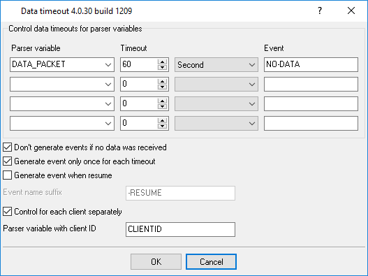 Data timeout plugin settings