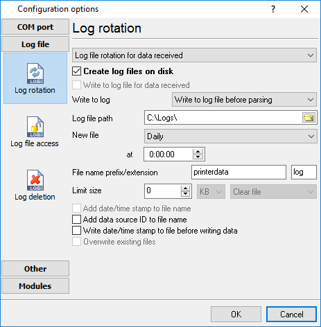 Log file settings