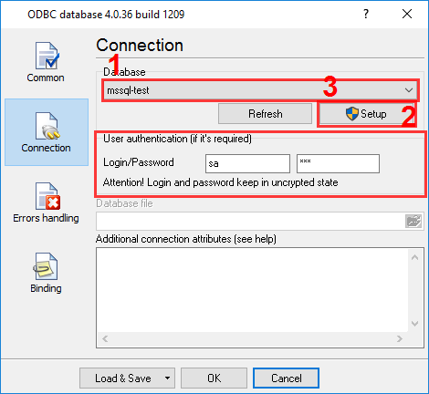 Configuring the data export plug-in. Connection.