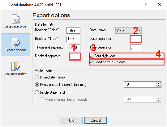 Export to Excel. Format options