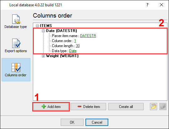 Export to Excel. Column order options
