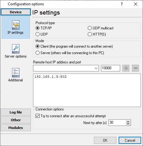 IP connection settings
