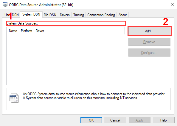 MS SQL 2000 export. ODBC data source administrator