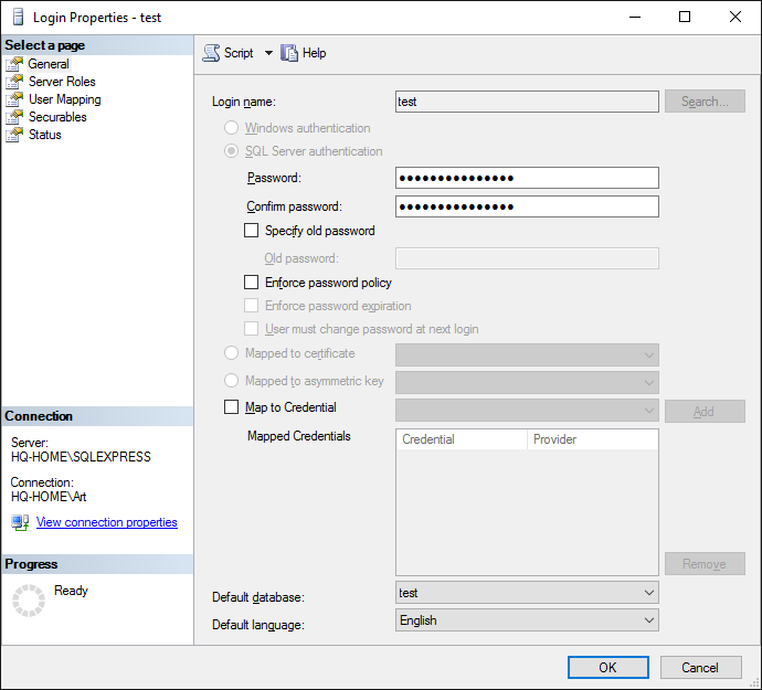 MS SQL 2000 export. The new user