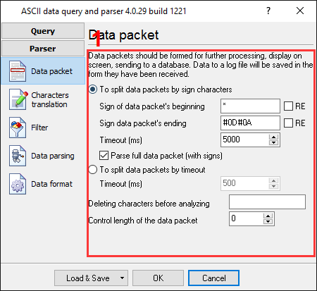 Pressure data logger. Parser configuration window