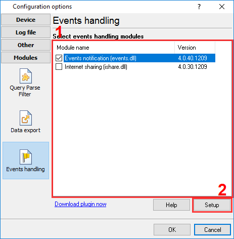 Selecting an event handling module