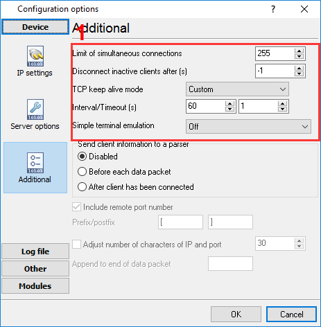 Additional TCP connection settings