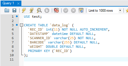 MySQL table