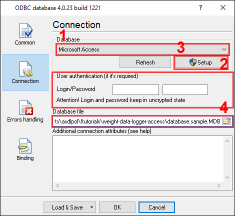 Export to MS Access. ODBC database data logger. Connection options