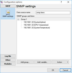SNMP Data Logger groups and items