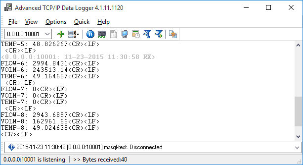 Advanced TCP IP Data Logger Screen shot